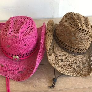 99073f3a19c53 Somher Accessories - SOMHER Lot 2 Straw Cowgirl Western Style Hats